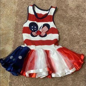 Girls Red, White & blue dress w/ruffles size 3T